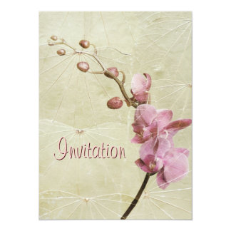 """Orchid and Leaf texture Invitation 5.5"""" X 7.5"""" Invitation Card"""
