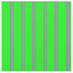 [ Thumbnail: Orchid and Lime Colored Lines Pattern Fabric ]