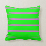 [ Thumbnail: Orchid and Lime Colored Striped/Lined Pattern Throw Pillow ]