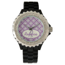 Orchid and mauve chic diamond pattern watches