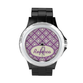 Orchid and mauve chic diamond pattern wristwatches