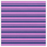 [ Thumbnail: Orchid and Midnight Blue Colored Stripes Pattern Fabric ]