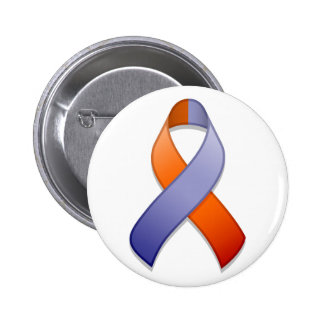 Orchid and Orange Awareness Ribbon Button
