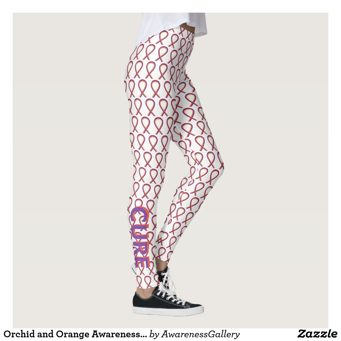Orchid and Orange Awareness Ribbon Custom Leggings