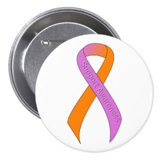 Orchid and Orange Ribbon Support Awareness Pinback Button