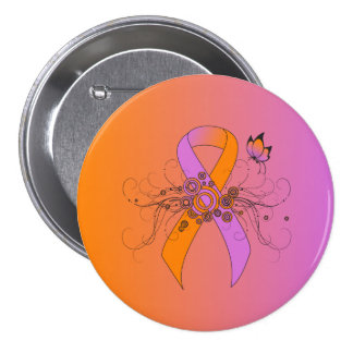 Orchid and Orange Ribbon with Butterfly Pinback Button