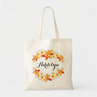 Orchid and Plumeria Flowers, Elegant Tote Bag