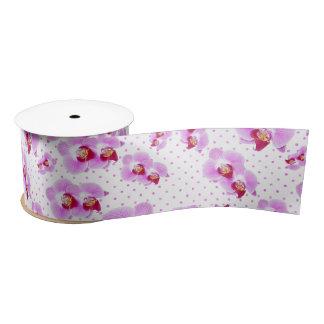 Orchid and Polka Dots Floral Photography Pattern Satin Ribbon
