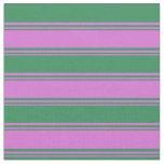 [ Thumbnail: Orchid and Sea Green Lines/Stripes Pattern Fabric ]