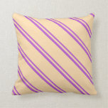 [ Thumbnail: Orchid and Tan Pattern of Stripes Throw Pillow ]
