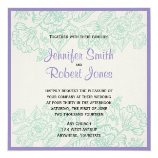 Orchid and Teal Bohemian Flower Wedding Invitation