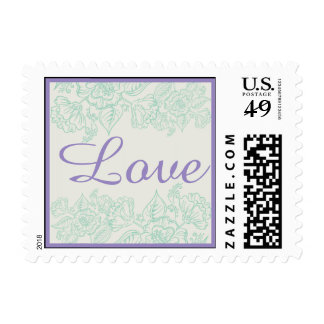 Orchid and Teal Bohemian Flowers Postage Stamp