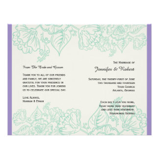 Orchid and Teal Bohemian Flowers Wedding Program