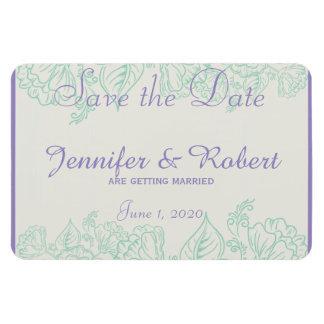 Orchid and Teal Bohemian Wedding Save the Date Magnet