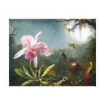 Orchid and Three Hummingbirds Fine Art Canvas Print
