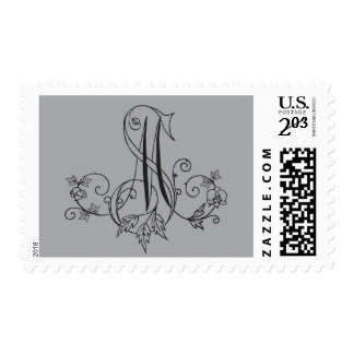Orchid and Vine monogram Postage Stamps