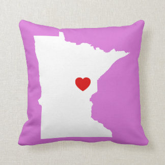 Orchid and White Minnesota with Red Heart Throw Pillow