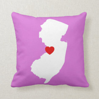Orchid and White New Jersey with Red Heart Throw Pillow