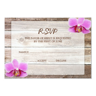 Orchid Barn Wood Wedding RSVP Response Card