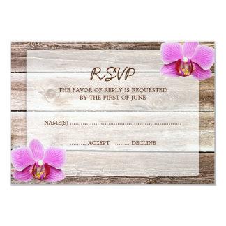 "Orchid Barn Wood Wedding RSVP Response Card 3.5"" X 5"" Invitation Card"