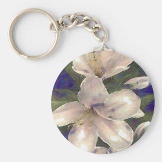 Orchid Basic Round Button Keychain
