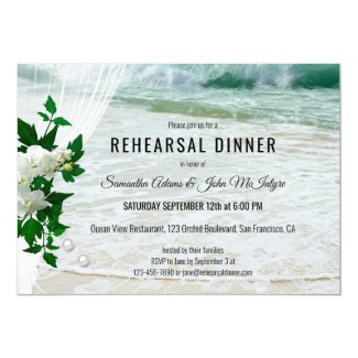Orchid Beach Lace Rehearsal Dinner Invitation