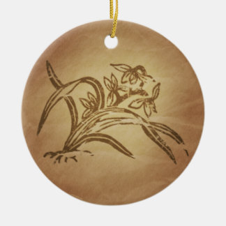 Orchid Beauty Chinese Ceramic Ornament