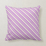 [ Thumbnail: Orchid & Beige Colored Lined Pattern Throw Pillow ]
