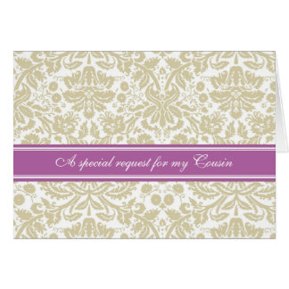 Orchid Beige Damask Cousin Bridesmaid Invitation Greeting Card