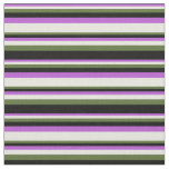 [ Thumbnail: Orchid, Beige, Dark Olive Green & Black Pattern Fabric ]