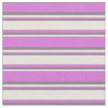 [ Thumbnail: Orchid, Beige & Gray Colored Striped Pattern Fabric ]
