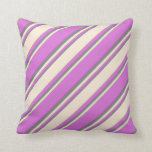 [ Thumbnail: Orchid, Beige & Gray Colored Striped Pattern Throw Pillow ]
