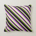 [ Thumbnail: Orchid, Beige, Green, and Black Lines Throw Pillow ]