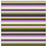 [ Thumbnail: Orchid, Bisque, Green, and Black Lines Fabric ]