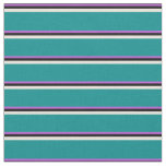 [ Thumbnail: Orchid, Black, Beige, and Dark Cyan Colored Lines Fabric ]