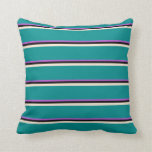 [ Thumbnail: Orchid, Black, Beige, and Dark Cyan Colored Lines Throw Pillow ]