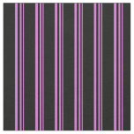 [ Thumbnail: Orchid & Black Colored Stripes/Lines Pattern Fabric ]