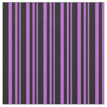[ Thumbnail: Orchid & Black Lines Pattern Fabric ]