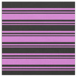 [ Thumbnail: Orchid & Black Lines/Stripes Pattern Fabric ]