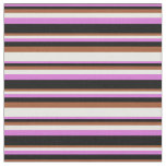 [ Thumbnail: Orchid, Black, Sienna & White Colored Stripes Fabric ]