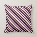 [ Thumbnail: Orchid, Black, Sienna & White Colored Stripes Throw Pillow ]