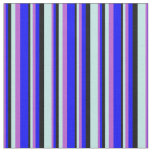[ Thumbnail: Orchid, Blue, Black, and Turquoise Colored Lines Fabric ]