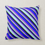 [ Thumbnail: Orchid, Blue, Black, and Turquoise Colored Lines Throw Pillow ]