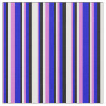 [ Thumbnail: Orchid, Blue, Black, and White Colored Lines Fabric ]