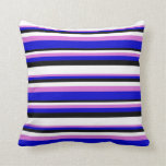 [ Thumbnail: Orchid, Blue, Black, and White Colored Lines Throw Pillow ]