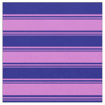 [ Thumbnail: Orchid & Blue Colored Lined/Striped Pattern Fabric ]