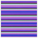 [ Thumbnail: Orchid, Blue, Dark Violet, Black & Light Blue Fabric ]