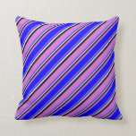 [ Thumbnail: Orchid, Blue, Mint Cream & Black Pattern Pillow ]
