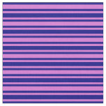 [ Thumbnail: Orchid & Blue Stripes Fabric ]