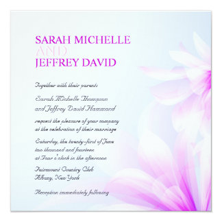Orchid Blue Violet Floral Wedding Invitations